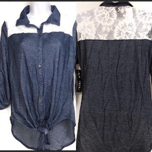 Eye Candy Denim and Lace Front Knot Button Down